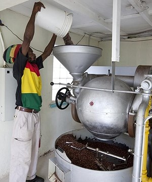The Grenada Chocolate Company roasting cocoa
