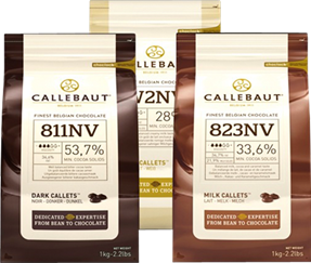 Three bags of Callebaut chips - white, milk and dark