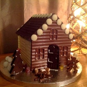 chocolate house with chocolate figures
