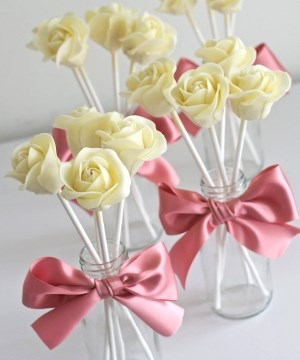 white chocolate rose pops