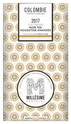 Millesime, Colombie 2017, 75% Nougatine Amandes dark chocolate bar