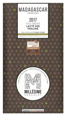 Millesime, Madagascar 2017, 55% milk praline chocolate bar