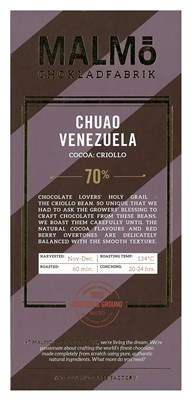 Malmo, Chuao Venezuela, 70% dark chocolate bar