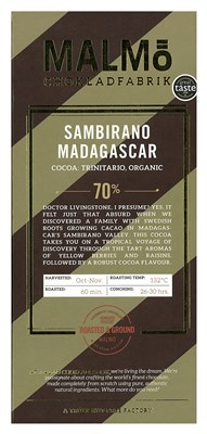 Malmo, Sambirano Madagascar, 70% dark chocolate bar