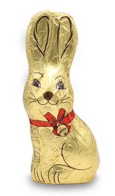 Large gold foiled milk chocolate bunny