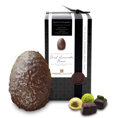 Oeuf Amande Noir, Superior Selection dark chocolates Easter egg