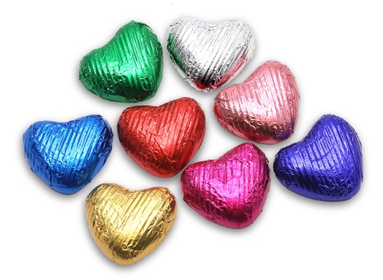 Mixed Foil Colours, Small Milk Chocolate Hearts