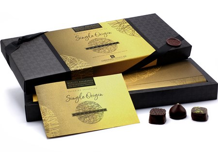 Superior Selection Single Origin Dark Chocolate Ganaches Gift Box with lid open (shows 24 box)