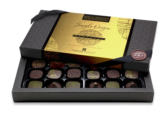 Superior Selection, Single Origin Ganaches Chocolate Gift Box - 18 box size