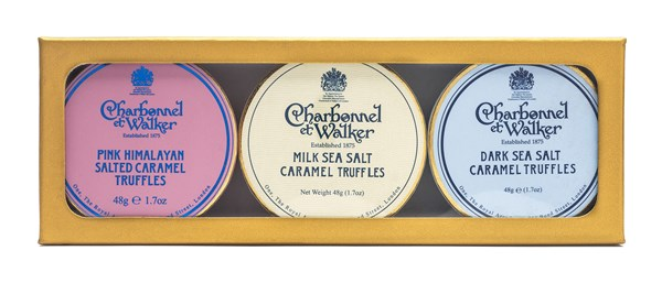 Charbonnel et Walker, Dark, Milk & Pink Mini Himalayan Salted Caramel Truffles gift set