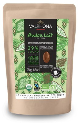 Valrhona, Andoa Lait, 39% milk chocolate chips 250g