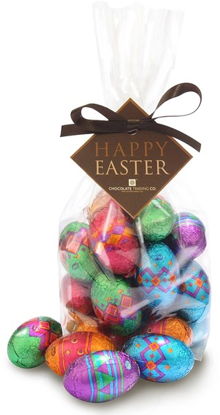 Chocolate trading co patterned chocolate easter eggs with gift wrap option negle Images