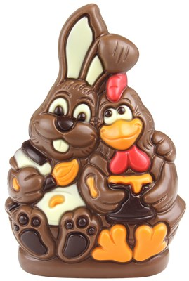 Milk chocolate Easter bunny and hen