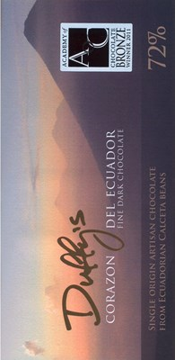 Duffy's, Corazon de Ecuador, 72% dark chocolate bar