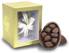 Milk chocolate Easter egg with milk chocolate selection