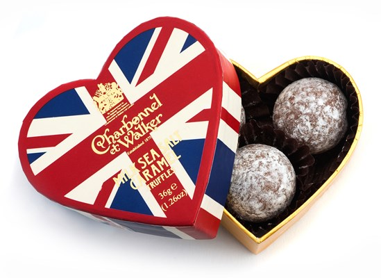 Union Jack heart chocolate truffle gift box