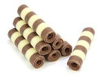 Striped mini chocolate cigarellos