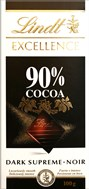 Lindt Excellence 90% dark chocolate bar