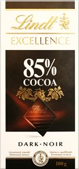 Lindt Excellence 85% dark chocolate bar