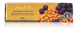Lindt, milk chocolate bar with hazelnuts and raisins