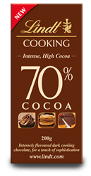 Lindt, 70% dark cooking chocolate bar