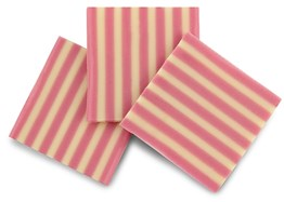 Pink stripe chocolate panel decorations
