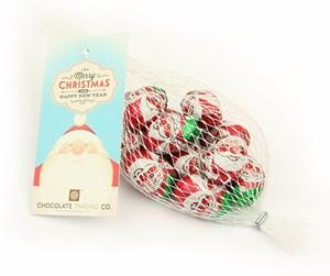 Net of chocolate Santa eggs