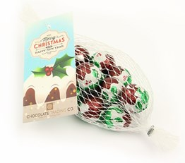 Net of Christmas pudding chocolate balls