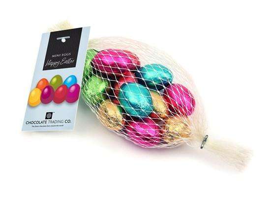 Net of Mini Easter Eggs with Happy Easter Gift Tag