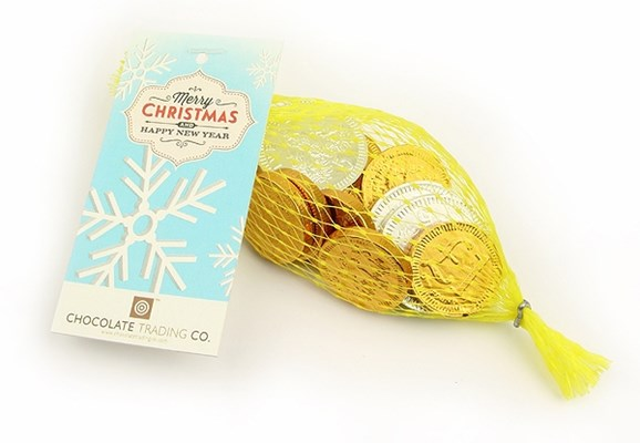 Net of Christmas chocolate coins