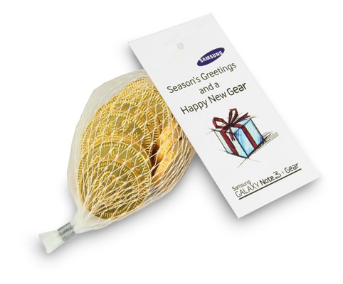 Personalised net of gold chocolate coins - Chocolate Trading Co