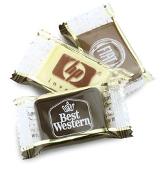 Printed chocolate tablet (clear flow wrap)
