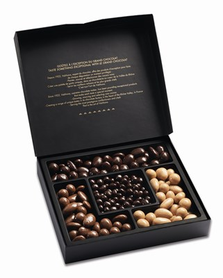 Valrhona Collection enrobed nuts and fruit gift box