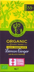 Organic, lemon & ginger dark chocolate bar