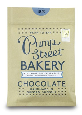 Pump Street Bakery, Rye Crumb & Sea Salt, milk chocolate bar