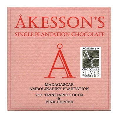 Akesson's, Madagascar, 75% dark chocolate & pink pepper bar