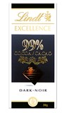 Lindt Excellence 99% dark chocolate bar