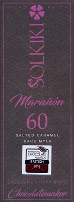 Solkiki, Maranon, 60% dairy free, salted milk chocolate bar