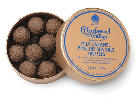 Milk chocolate caramel & praline sea salt truffles