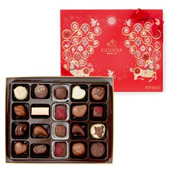 Godiva, 20 Assorted Christmas chocolate box (open)
