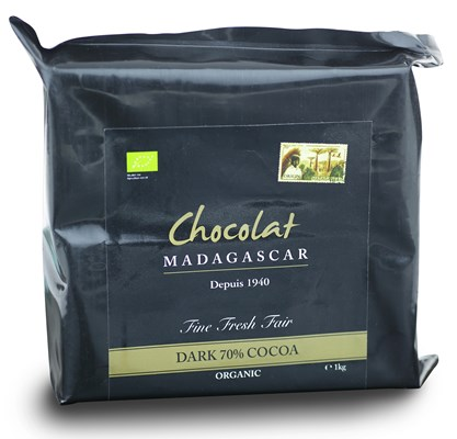 Chocolate Madagascar, 70% Organic dark chocolate couverture 1kg