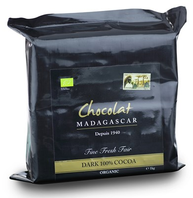 Chocolate Madagascar, 100% Organic dark chocolate couverture 1kg