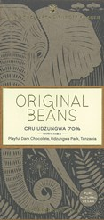 Original Beans, Cru Udzungwa 70% with nibs dark chocolate bar