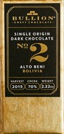Bullion, No.2 Alto Beni Bolivia, 70% dark chocolate bar