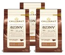 Callebaut, Milk chocolate chips (3 x 1kg Bundle)