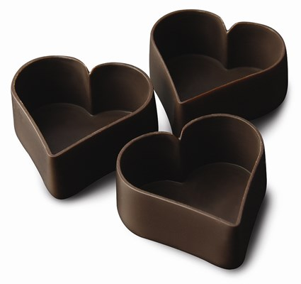 Dark chocolate Heart shaped Petits Fours / dessert cups