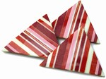 Striped decorative chocolate triangles