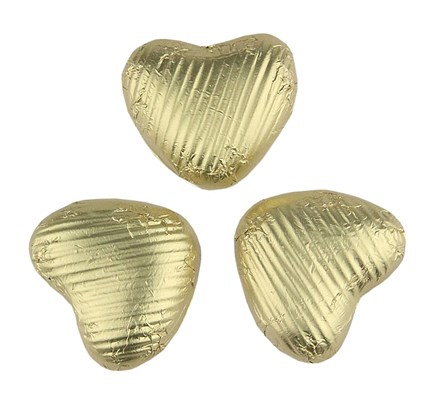 Gold milk chocolate hearts