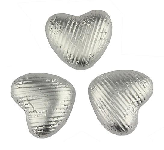 Silver Milk Chocolate Hearts