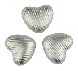 Silver, milk chocolate hearts